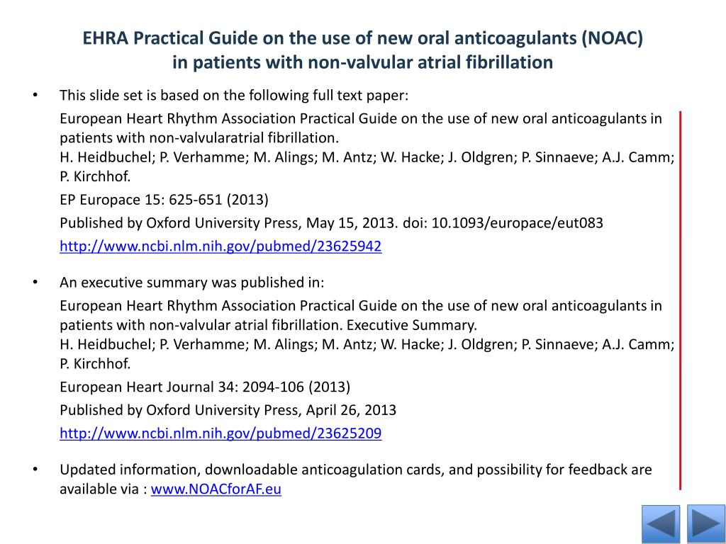PPT - EHRA practical guide on the use of new oral anticoagulants in