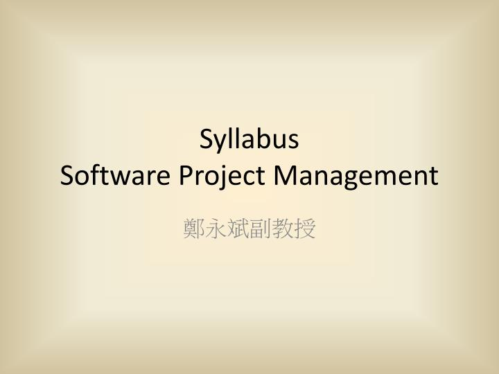 syllabus software project management n.