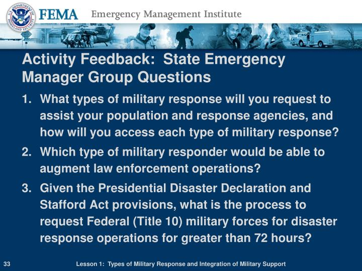 Activity Feedback:  State Emergency Manager Group Questions