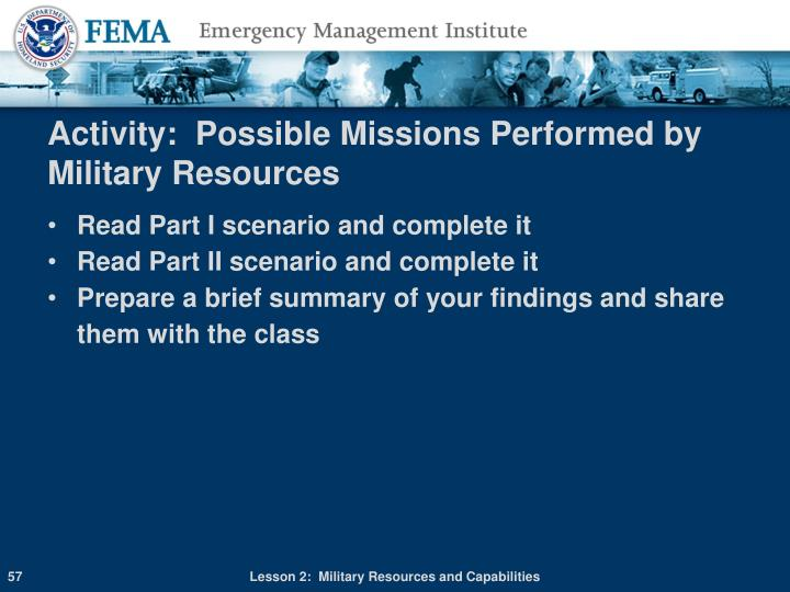 Activity:  Possible Missions Performed by Military Resources
