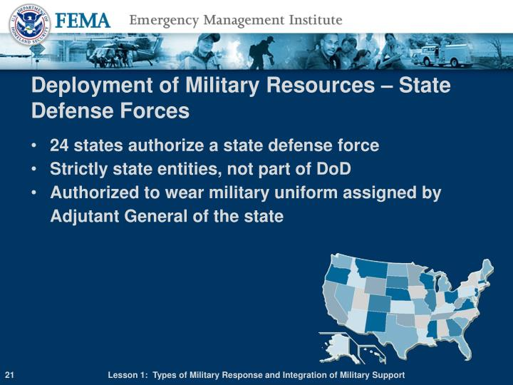 Deployment of Military Resources – State Defense Forces
