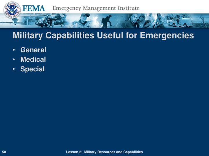 Military Capabilities Useful for Emergencies