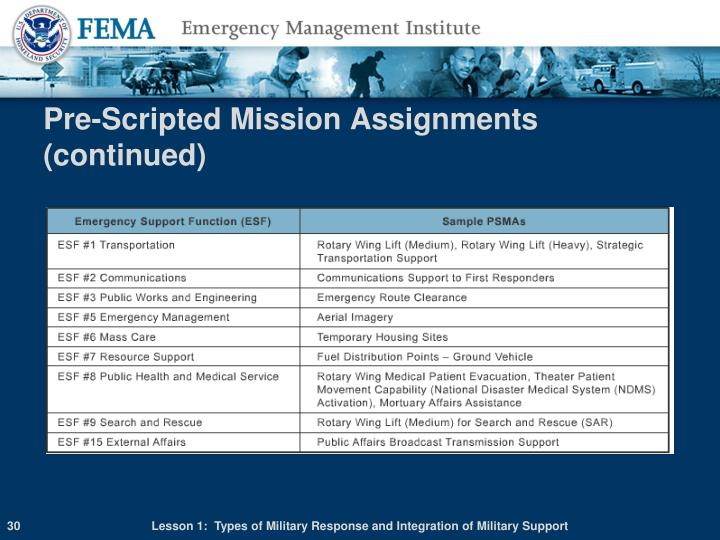 Pre-Scripted Mission Assignments (continued)
