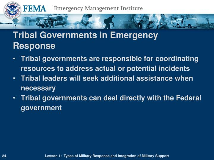 Tribal Governments in Emergency Response