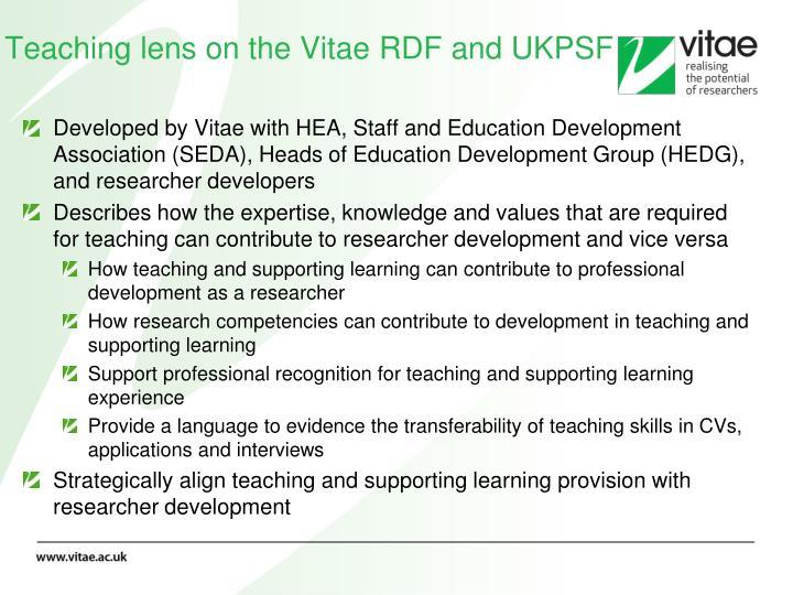 Teaching lens on the Vitae