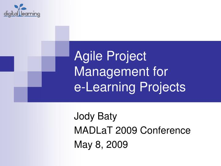 agile project management for e learning projects n.