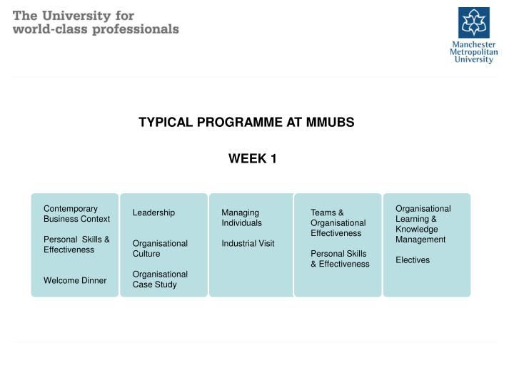 TYPICAL PROGRAMME AT MMUBS