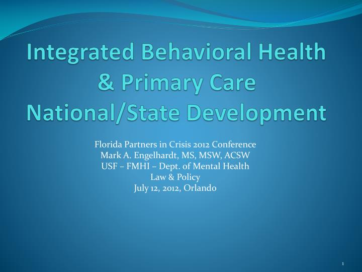 integrated behavioral health primary care national state development n.