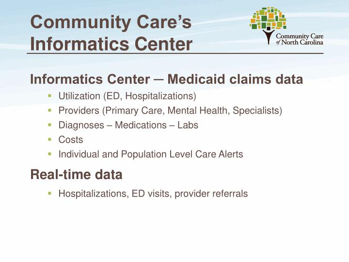 Community Care's Informatics Center