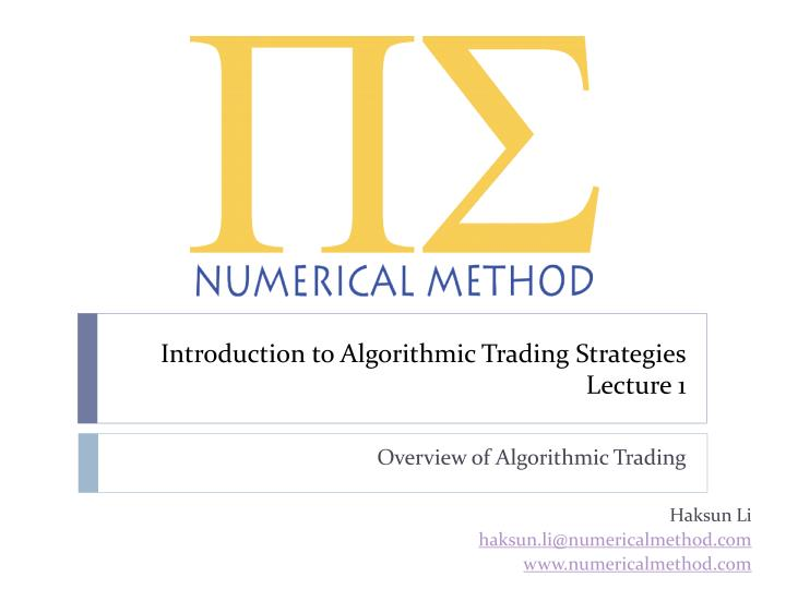 introduction to algorithmic trading strategies lecture 1 n.