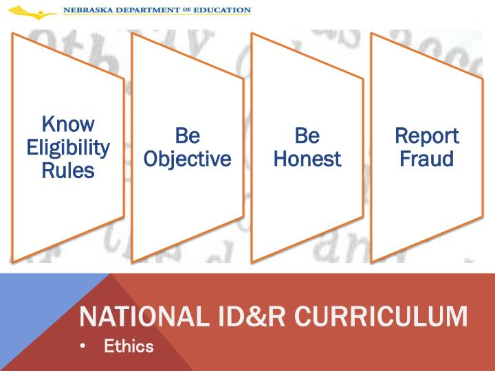 National ID&R curriculum