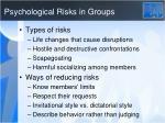 psychological risks in groups