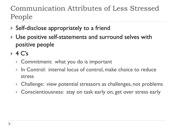 Communication Attributes of Less Stressed People