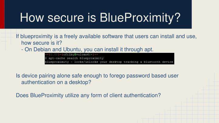 How secure is BlueProximity?