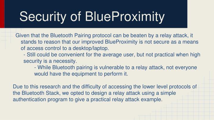 Security of BlueProximity
