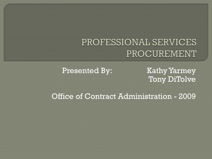 professional services procurement n.