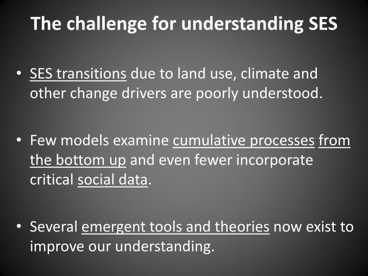 The challenge for understanding SES