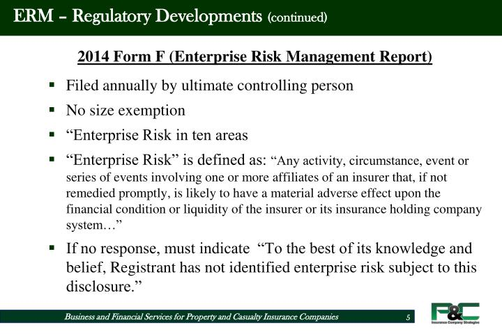Enterprise Risk Management For Property Casualty Insurance Companies