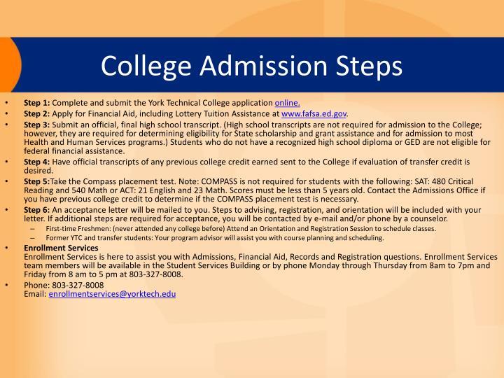College Admission Steps