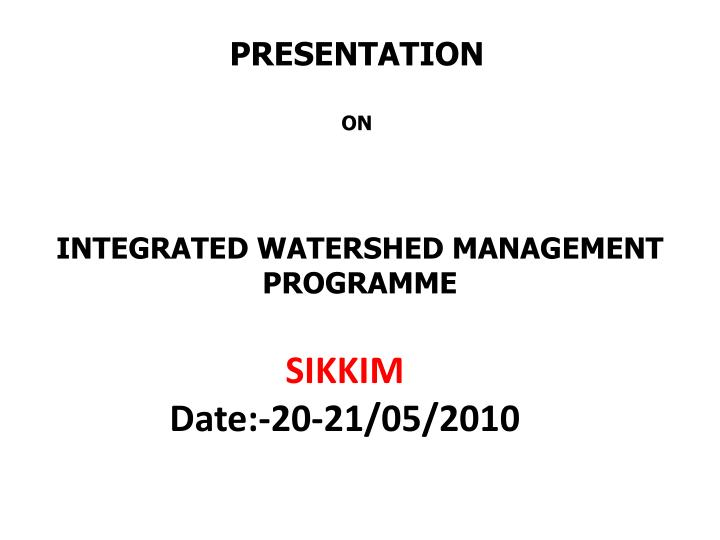 integrated watershed management programme n.