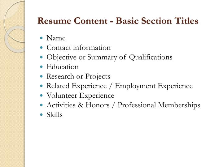 Resume Content - Basic Section Titles
