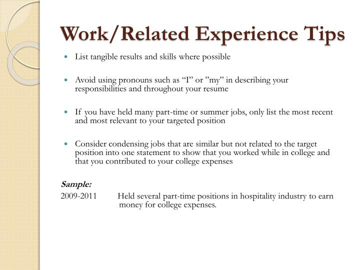 Work/Related Experience Tips