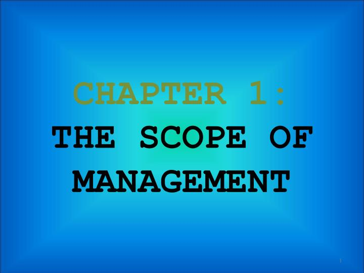 chapter 1 the scope of management n.