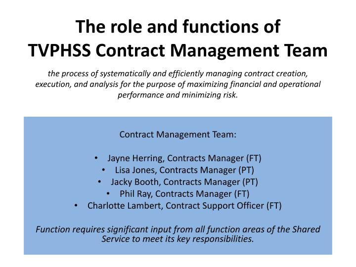 the role and functions of tvphss contract management team n.