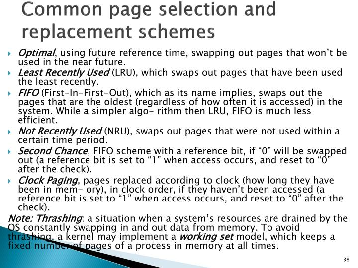Common page selection and replacement schemes