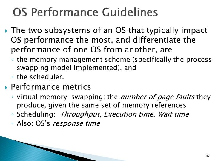 OS Performance Guidelines