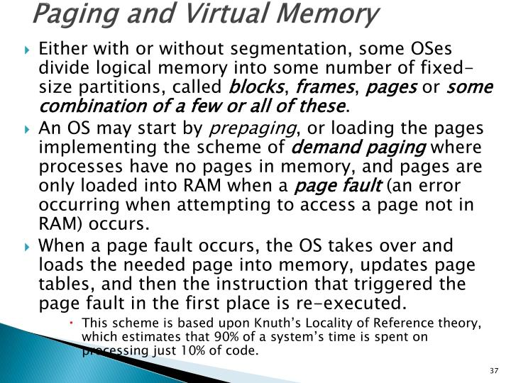 Paging and Virtual Memory