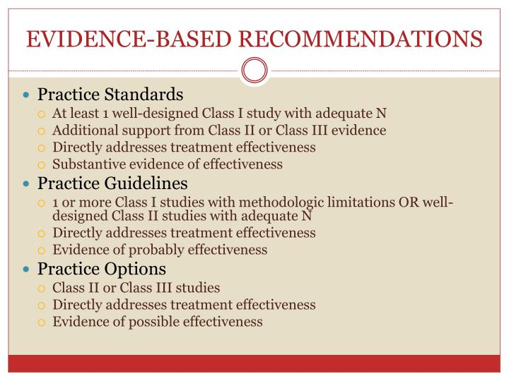 EVIDENCE-BASED RECOMMENDATIONS