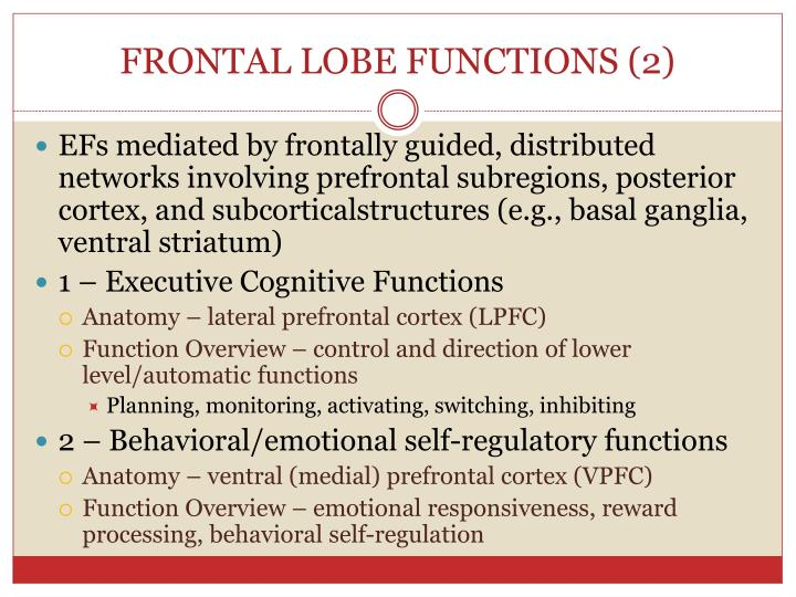 FRONTAL LOBE FUNCTIONS (2)