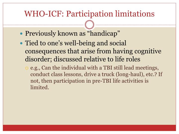 WHO-ICF: Participation limitations