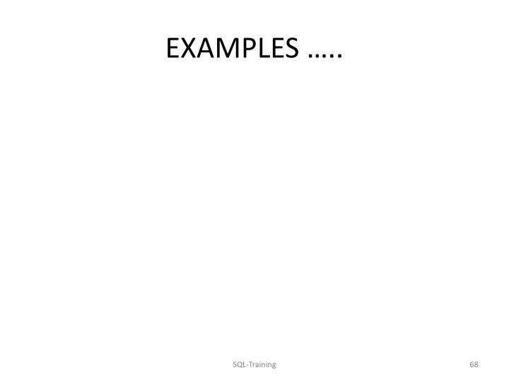 EXAMPLES …..