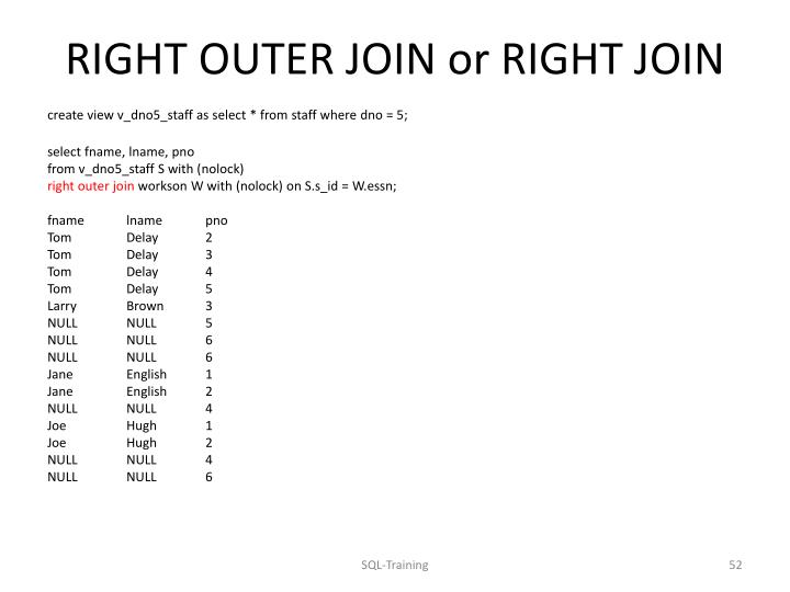 RIGHT OUTER JOIN or RIGHT JOIN