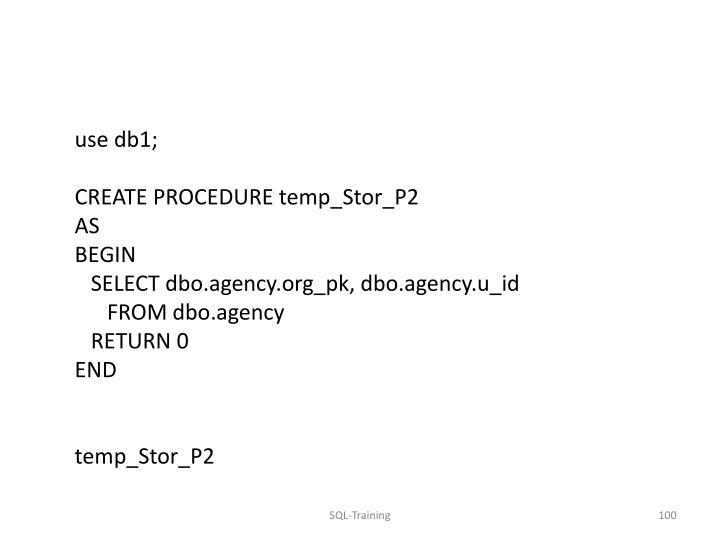 use db1;