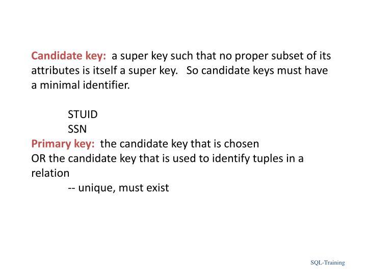 Candidate key: