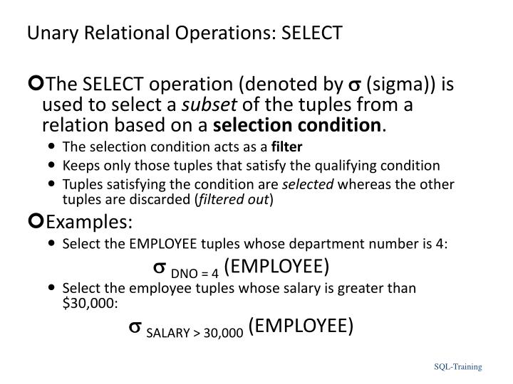 Unary Relational Operations: SELECT