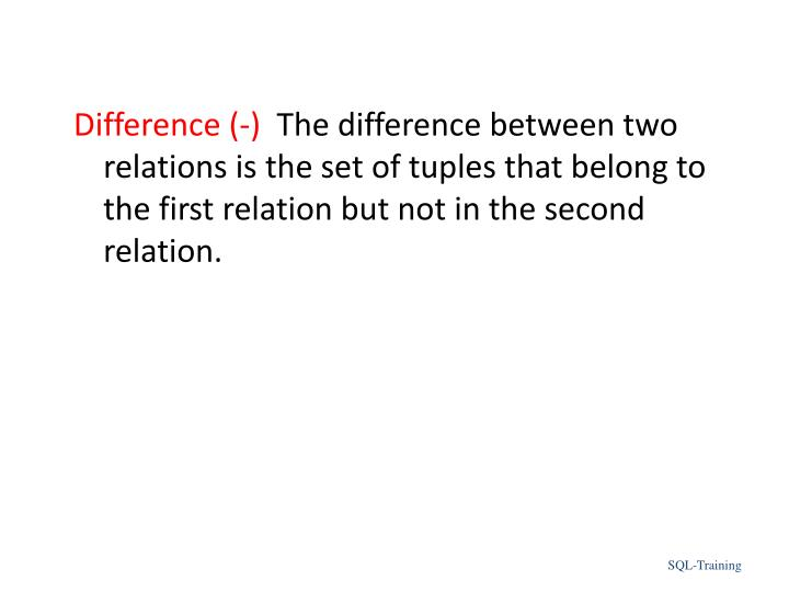 Difference (-)