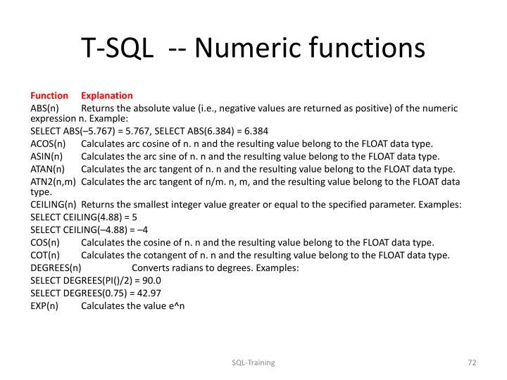 T-SQL  --