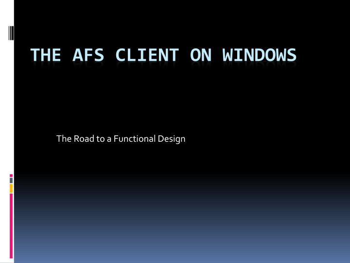 the road to a functional design n.