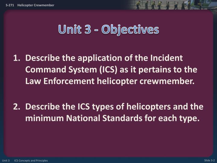 Unit 3 objectives