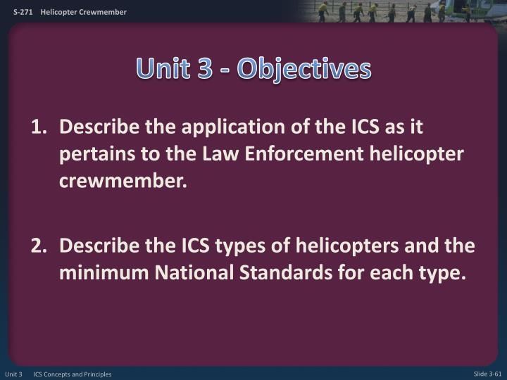 Unit 3 - Objectives