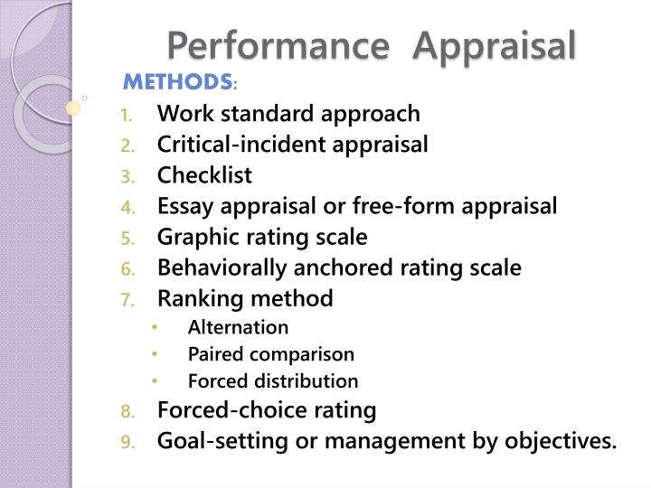 paired comparison method of performance appraisal