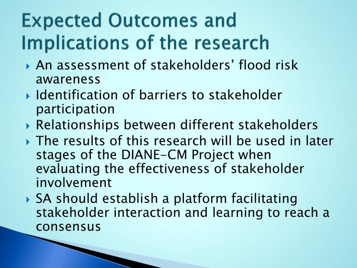 Expected Outcomes and Implications of the research