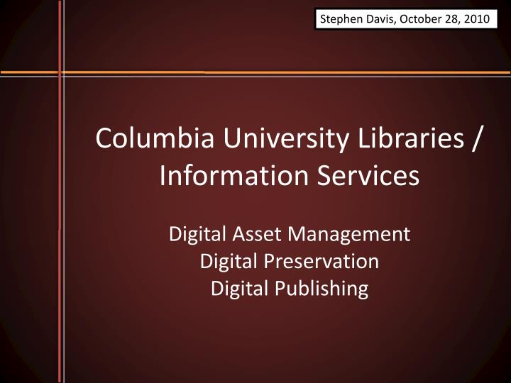 columbia university libraries information services n.