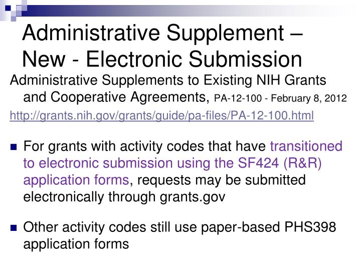 Administrative Supplement – New - Electronic Submission