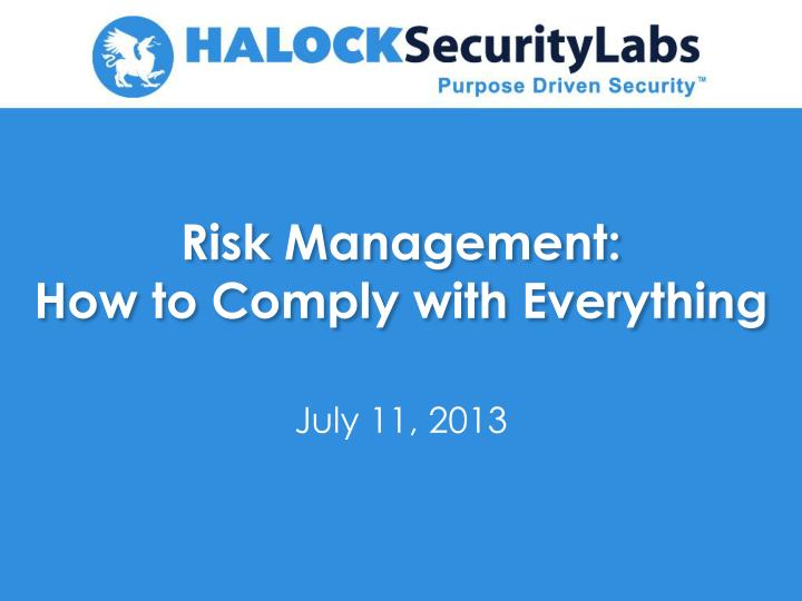 risk management how to comply with everything n.