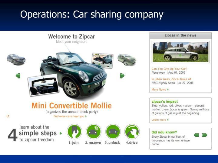 Operations: Car sharing company